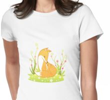 Fox Family  Womens Fitted T-Shirt