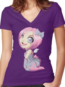 Portal: Companion Cube Women's Fitted V-Neck T-Shirt