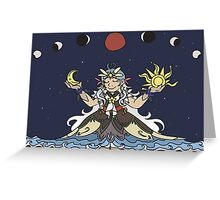 Space Lady Blood Moon Greeting Card