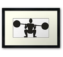 Weight lifting sport silhouette Framed Print