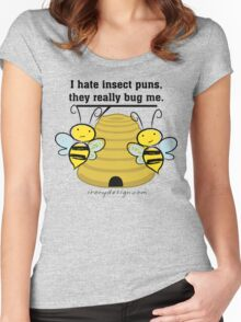 Insect Puns Bug Me Funny Bumble Bees Women's Fitted Scoop T-Shirt