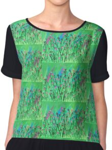 Mixed Colorful Flowers, Wild Flowers  Chiffon Top