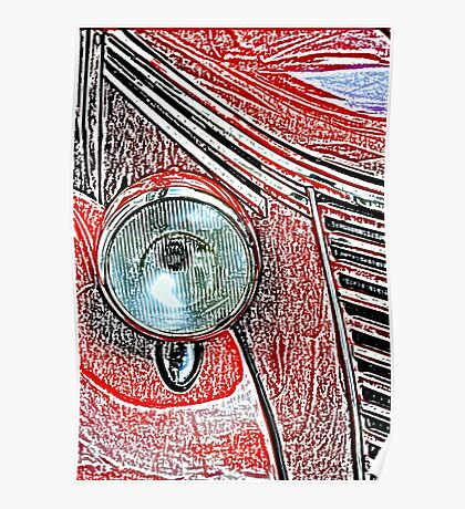 Headlight of an old car Poster