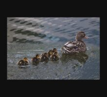 Ducklings Following Mom Duck One Piece - Short Sleeve