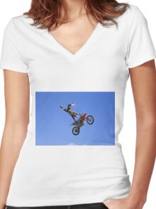 Bolddog Lings FMX Display Team Women's Fitted V-Neck T-Shirt