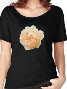Yellow rose closeup isolated on black background Women's Relaxed Fit T-Shirt