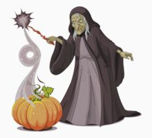 Old lady witch with pumpkin doing magician Baby Tee