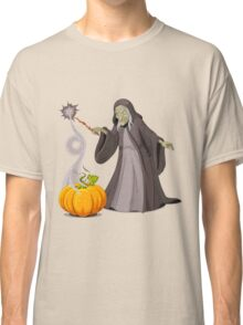 Old lady witch with pumpkin doing magician Classic T-Shirt