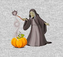 Old lady witch with pumpkin doing magician Unisex T-Shirt
