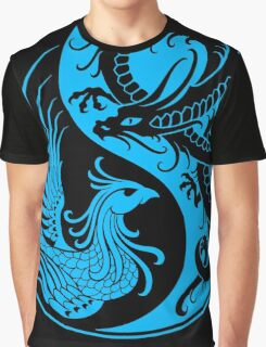 Blue and Black Dragon Phoenix Yin Yang Graphic T-Shirt