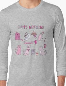 Happy birthday funny cat graphic Long Sleeve T-Shirt