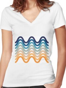 Beach- Sand, Ocean, Sky Color Theme Women's Fitted V-Neck T-Shirt