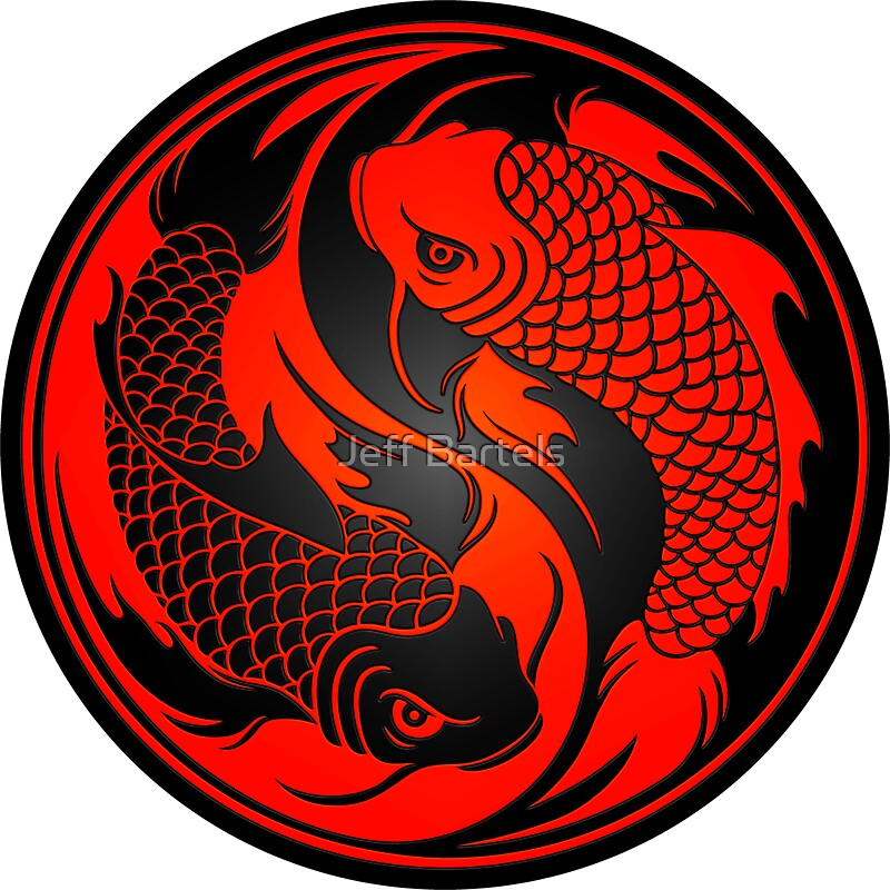 Red and black yin yang koi fish stickers by jeff bartels for Yin and yang koi fish