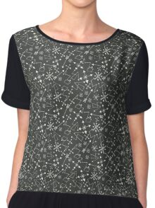 Out of Space Black Sky and Stars Chiffon Top