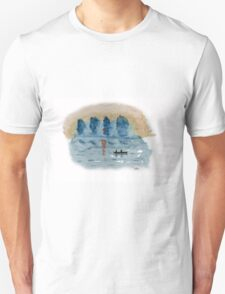Blue Abstract Sunset - Watercolor Painting Unisex T-Shirt