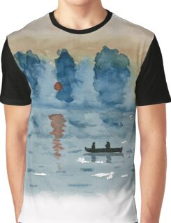 Blue Abstract Sunset - Watercolor Painting Graphic T-Shirt