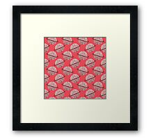 Red Planet Hand Drawn Pattern Framed Print