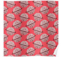 Red Planet Hand Drawn Pattern Poster