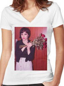 Alice Glass Flowers Women's Fitted V-Neck T-Shirt