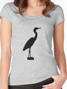 Great blue heron silhouette Women's Fitted Scoop T-Shirt