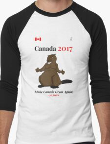 Canada 150, Canada 2017 & Canada Day Shirts & Souvenirs - Canadian Hockey, Curling, July 1 Party, Cool and Heritage Beaver Shirt Selection! Men's Baseball ¾ T-Shirt