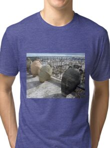 Pottery Jugs on a Tunis Roof  Tri-blend T-Shirt