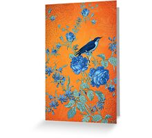 Collage Indigo and Orange Greeting Card