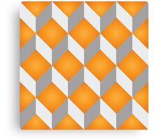 Geometric 3d cube pattern - retro design - orange, grey Canvas Print