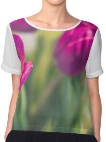 purple tulips macro - beautiful flower closeup Chiffon Top