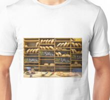Modern bakery with different kinds of bread Unisex T-Shirt