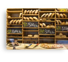 Modern bakery with different kinds of bread Canvas Print