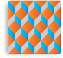 Geometric 3d cube pattern - retro design - blue ,orange Canvas Print