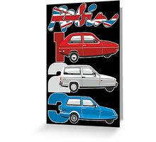 Reliant Robin evolution Greeting Card