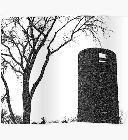 Tree, on the Farm | Black and White | Garden and Nature Poster