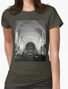 The Benedictine Sanctuary ~ Black & White Womens Fitted T-Shirt