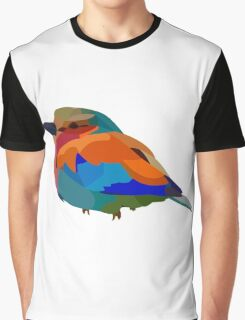 Tiny Colorful Bird Graphic T-Shirt