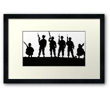 Army silhouette  Framed Print