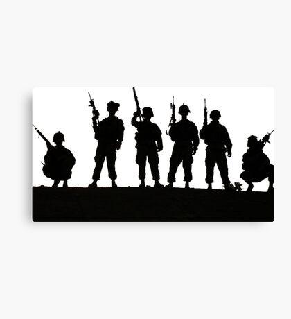 Army silhouette  Canvas Print