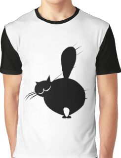 Black fat cat side view Graphic T-Shirt