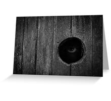 Scary Eye Looking Through Hole In Wood Greeting Card