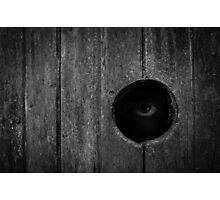 Scary Eye Looking Through Hole In Wood Photographic Print
