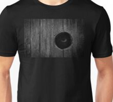 Scary Eye Looking Through Hole In Wood Unisex T-Shirt