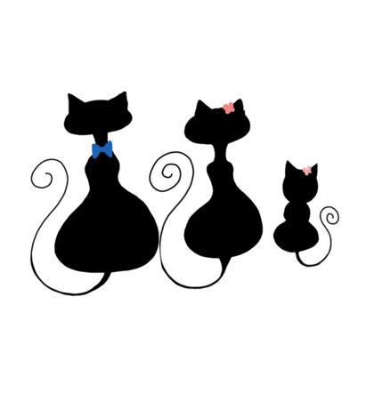 Simplistic cat family Sticker
