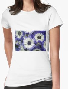 Blue & White Daisies Womens Fitted T-Shirt