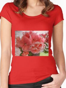 Pink Flowers HDR Women's Fitted Scoop T-Shirt