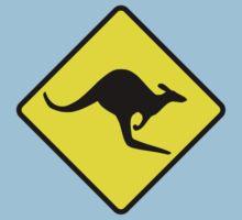 Australian Kangaroo Crossing Road Sign Sticker Aussie Roo T-Shirt Kids Tee