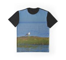 Patient Seagull Waiting On A Rock Covered With Algae | East Marion, New York Graphic T-Shirt