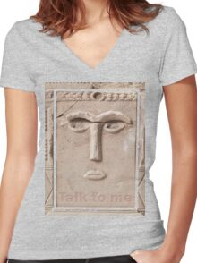 Talk to me (Ancient sculpture found in Petra) Women's Fitted V-Neck T-Shirt