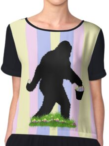 Gone Easter Squatchin with Pastel Background Chiffon Top