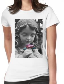 Girl with Rose II Womens Fitted T-Shirt